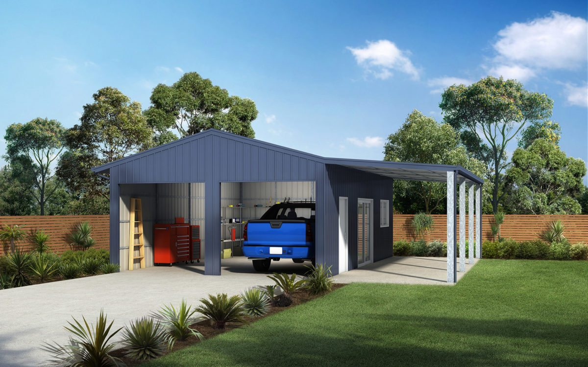 Double garage with awning