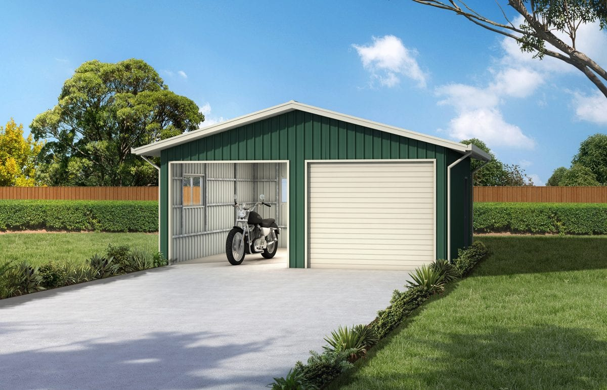 Deluxe horizontal clad garage with eaves